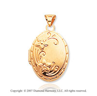 14k Yellow Gold Elegant Floral Oval Locket