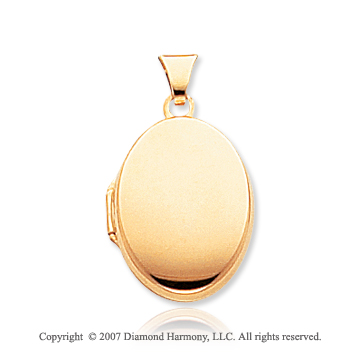 14k Yellow Gold Plain Polished Oval Locket