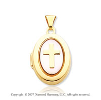 14k Yellow Gold Mother of Pearl Cross Oval Locket