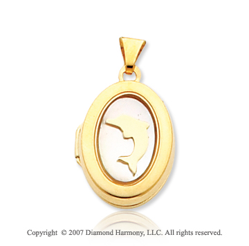 14k Yellow Gold Mother of Pearl Dolphin Oval Locket