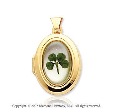 14k Yellow Gold Mother of Pearl Four Leaf Clover Oval Locket