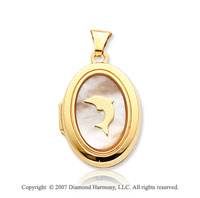 14k Yellow Gold Mother of Pearl Dolphin Locket