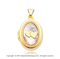 14k Yellow Gold Mother of Pearl Double Heart Oval Locket