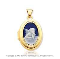 14k Yellow Gold Angel Cameo Polished Oval Locket