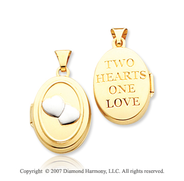 14k Yellow Gold 'Two Hearts One Love' Oval Locket