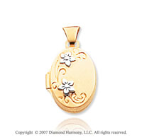 14k Yellow Gold Floral Polished Oval Locket