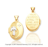 14k Yellow Gold Guardian Angel Carved Oval Locket