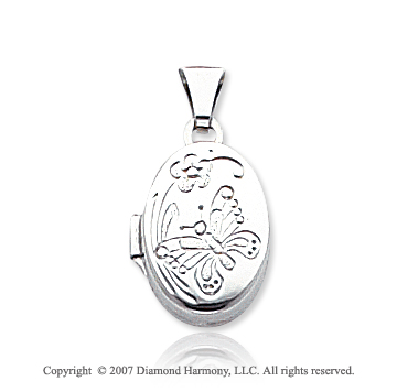 14k White Gold Floral Butterfly Polished Oval Locket
