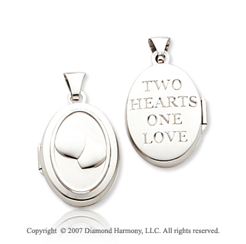 14k White Gold 'Two Hearts One Love' Oval Locket
