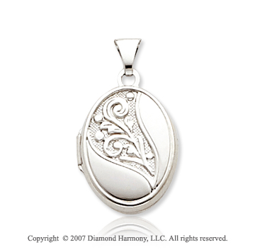 14k White Gold Elegance Embossed Oval Locket