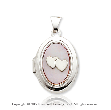 14k White Gold Mother of Pearl Two Hearts Oval Locket