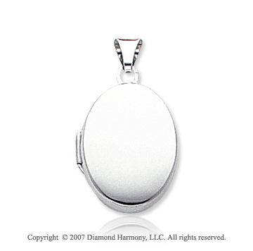 14k White Gold Plain Elegance Polished Oval Locket