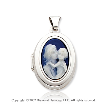 14k White Gold Parent and Child Cameo Oval Locket