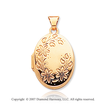 14k Yellow Gold Stylish Floral Carved Oval Locket