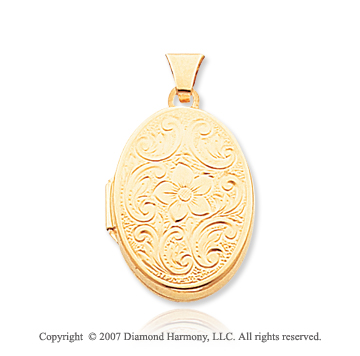 14k Yellow Gold Classic Elegance Floral Oval Locket