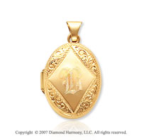 14k Yellow Gold Classic Grace Oval Locket