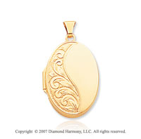 14k Yellow Gold Elegant Stylish Oval Locket