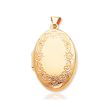 14k Yellow Gold Great Style Floral Polished Locket