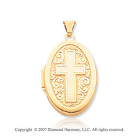 14k Yellow Gold Cross Carved Oval Locket