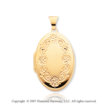 14k Yellow Gold Floral Frame Oval Locket