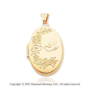 14k Yellow Gold Sweet Birds Oval Locket