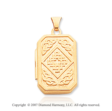 14k Yellow Gold Celtic Style Rectangle Locket