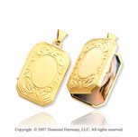 14k Yellow Gold Stylish Carved Rectangle Locket