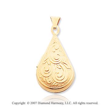 14k Yellow Gold Elegant Teardrop Locket