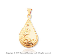 14k Yellow Gold Elegant Floral Teardrop Locket