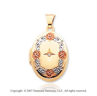 Diamond 14k Yellow Gold Elegant Oval Locket