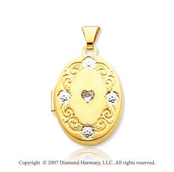 14k Yellow Gold Stylish Oval CZ Locket