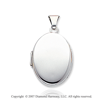 14k White Gold Fine Smooth Oval Locket