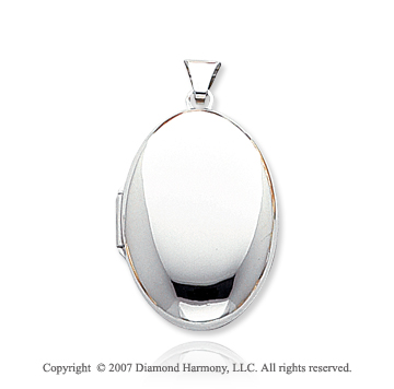 14k White Gold Stylish Domed Oval Locket