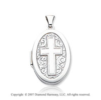 14k White Gold Elegant Cross Oval Locket