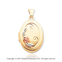14k Yellow Gold Stylish Floral Oval Locket