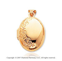14k Yellow Gold Classic Domed Oval Locket