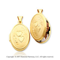 14k Yellow Gold Stylish Satin Heart Oval Locket
