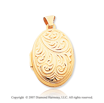 14k Yellow Gold Great Classic Carved Oval Locket