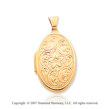 14k Yellow Gold Classical Floral Oval Locket