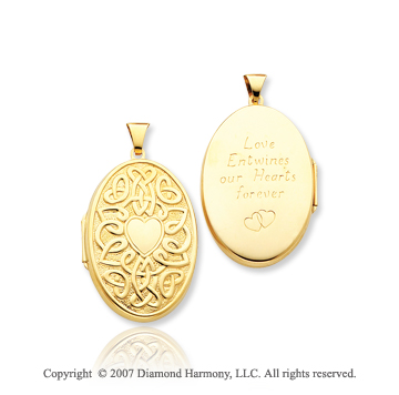 14k Yellow Gold Celtic Heart Carved Oval Locket