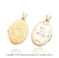 14k Yellow Gold  Love You Always' Oval Locket