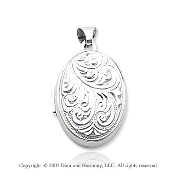 14k White Gold Vintage Style Domed Oval Locket