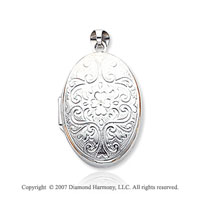 14k White Gold Vintage Style Carved Oval Locket