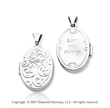 14k White Gold Polished Carved Oval Locket