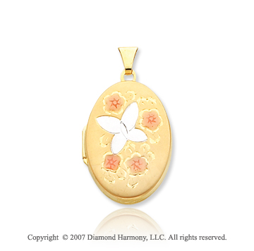 14k Yellow Gold Butterfly & Flowers Oval Locket