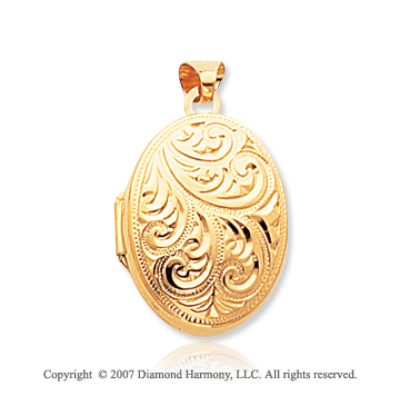 14k Yellow Gold Carved Four Fold Oval Locket
