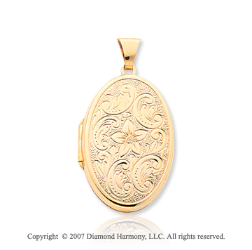 14k Yellow Gold Floral Four Fold Oval Locket