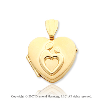 14k Yellow Gold Heart Shaped Mother and Child� Locket