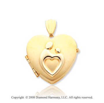14k Yellow Gold Heart Shaped Mother and Child� Four Fold Locket