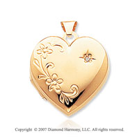 14k Yellow Gold Diamond Floral Four Fold Locket